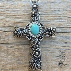 NWT Silver Rose Carved Cross with Gemstones